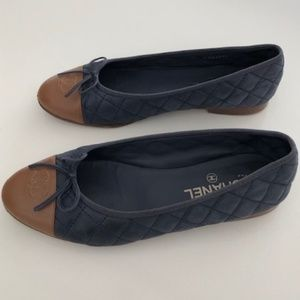 CHANEL Two-Tone Quilted Ballerina Flat with Cap To